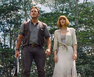 Chris Pratt and Bryce Dallas Howard (in the white dress that stays nice and white, if you saw her feet she is wearing heels)