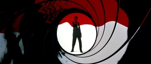 Pierce Brosnan in the gun barrel logo from 'GoldenEye'. Finally Daniel Craig got to have this open one of his 007 movies.